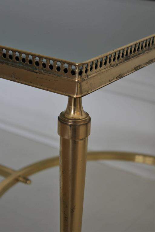 French Vintage Cocktail or Coffee Table in Solid Brass with Smoked Glass In Good Condition For Sale In New York, NY