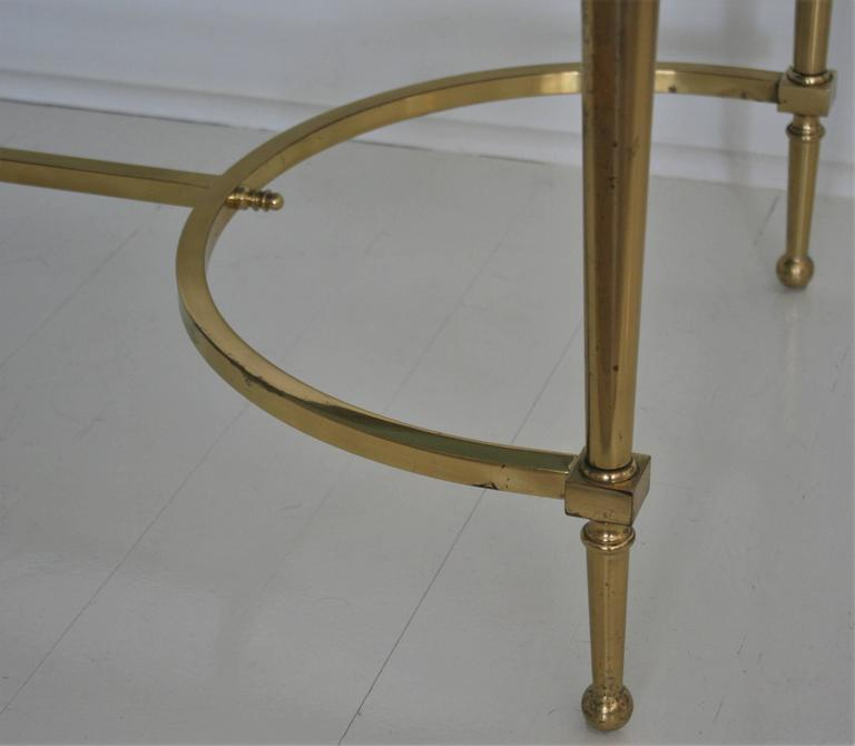 French Vintage Cocktail or Coffee Table in Solid Brass with Smoked Glass For Sale 2