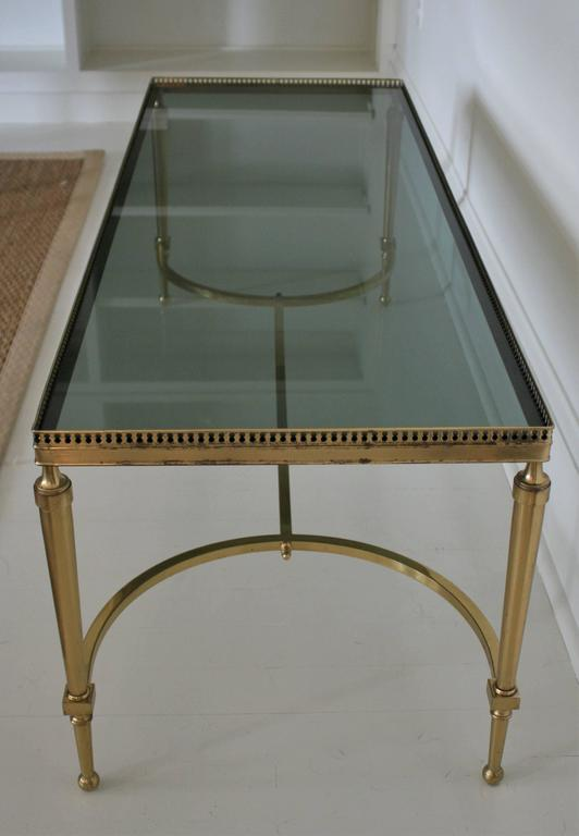 French Vintage Cocktail or Coffee Table in Solid Brass with Smoked Glass For Sale 4