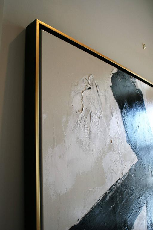 Contemporary Original Black and White Painting by Argentine Artist Karina Gentinetta For Sale