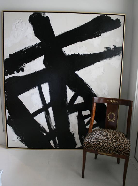 Original Black and White Painting by Argentine Artist Karina Gentinetta For Sale 3