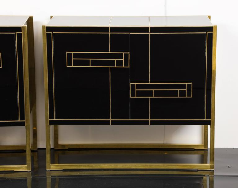 One of a Kind Signed Pair of Black Glass and Brass Cabinets 4