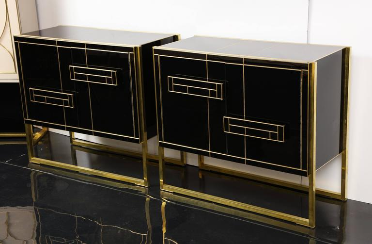 One of a Kind Signed Pair of Black Glass and Brass Cabinets 7