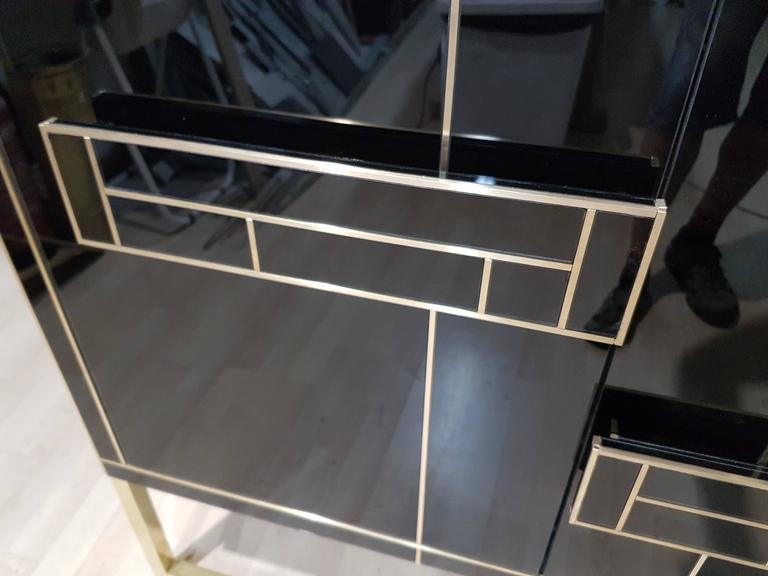 One of a Kind Signed Pair of Black Glass and Brass Cabinets 2