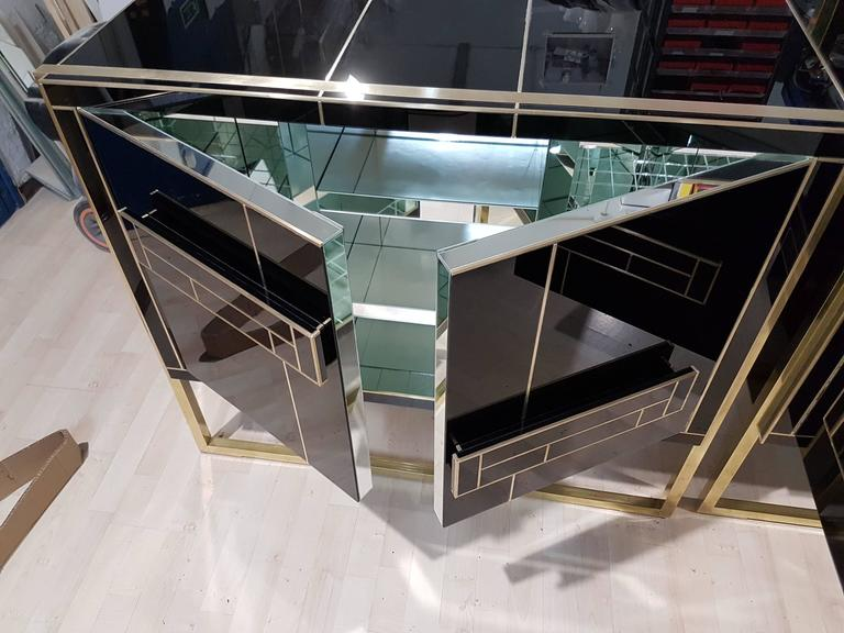 One of a Kind Signed Pair of Black Glass and Brass Cabinets 8