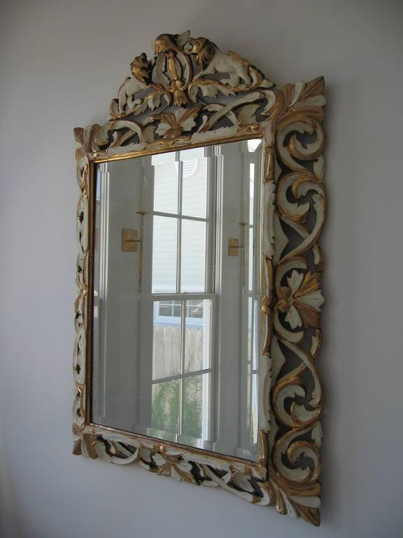 Late 19th Century Ornately Carved Giltwood and Painted Italian Mirror For Sale 4