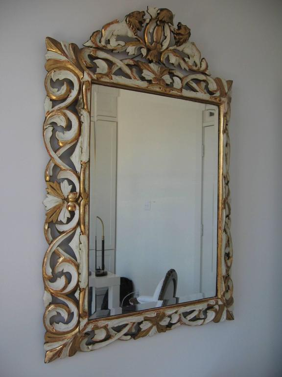Late 19th Century Ornately Carved Giltwood and Painted Italian Mirror For Sale 5