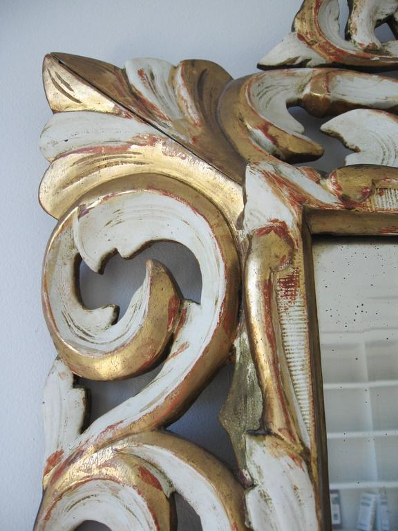 Late 19th Century Ornately Carved Giltwood and Painted Italian Mirror In Good Condition For Sale In New York, NY