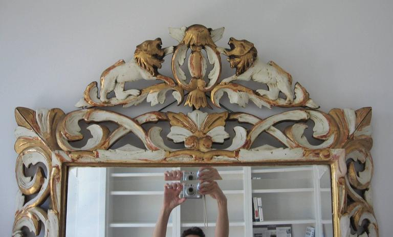 Late 19th Century Ornately Carved Giltwood and Painted Italian Mirror For Sale 1