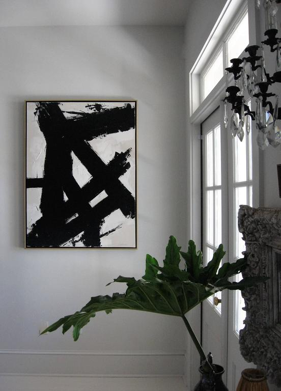 """Entitled """"On the Flip Side"""" original acrylic on stretched canvas abstract black and white painting by Argentine born artist Karina Gentinetta (featured in the April 2015 issue of Elle Decor, the New York Times and More Magazine). Painted in hues of"""