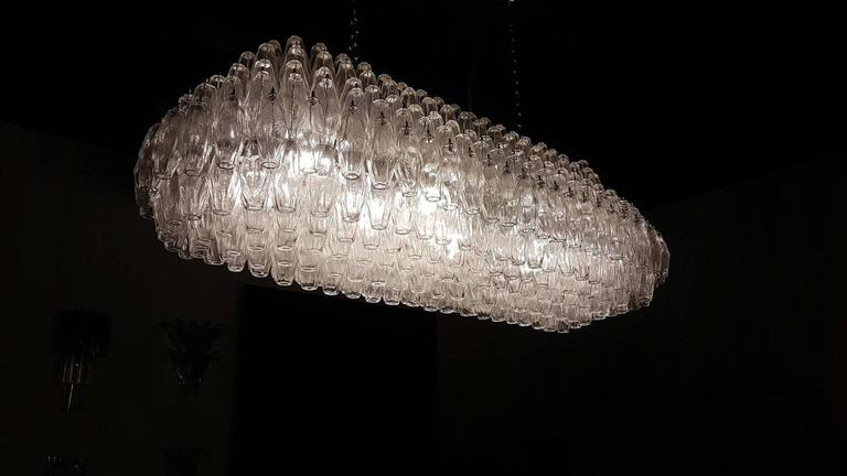 20th Century Enormous Venini Style Italian Polyhedral Clear Murano Glass Chandelier For Sale