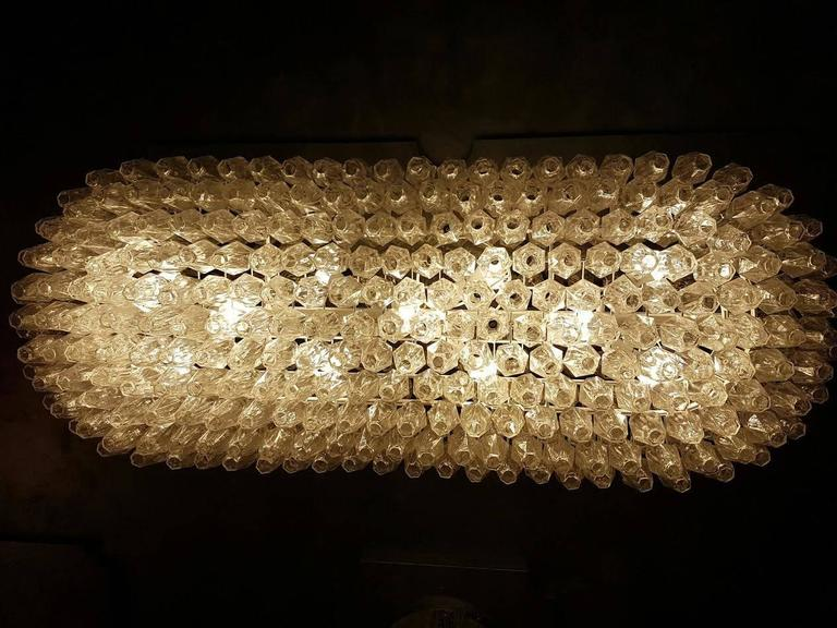 Enormous Venini Style Italian Polyhedral Clear Murano Glass Chandelier In Excellent Condition For Sale In New York, NY