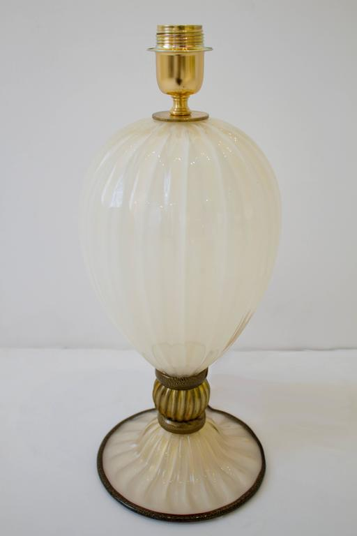 Pair of Italian Handblown Ivory and Gold Murano Glass Lamps, Signed 2