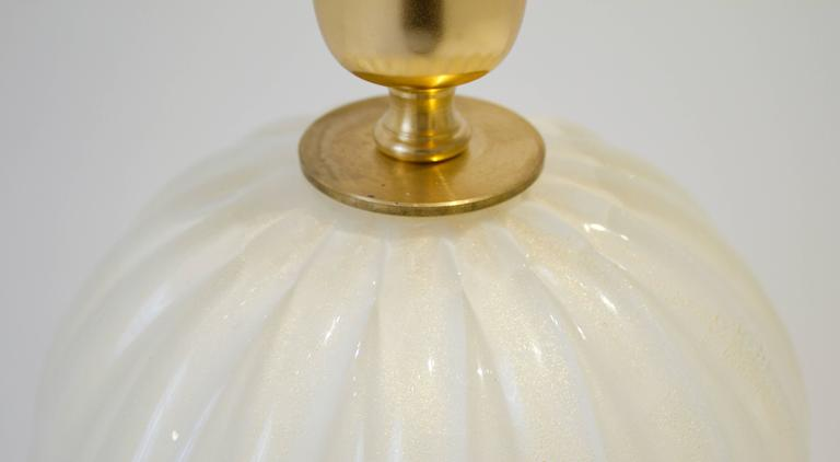 Pair of Italian Handblown Ivory and Gold Murano Glass Lamps, Signed 6