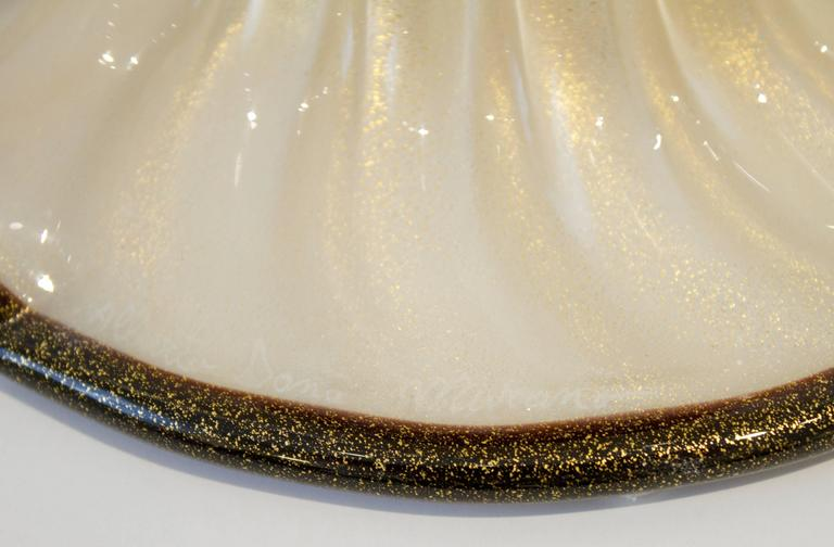 Pair of Italian Handblown Ivory and Gold Murano Glass Lamps, Signed 7