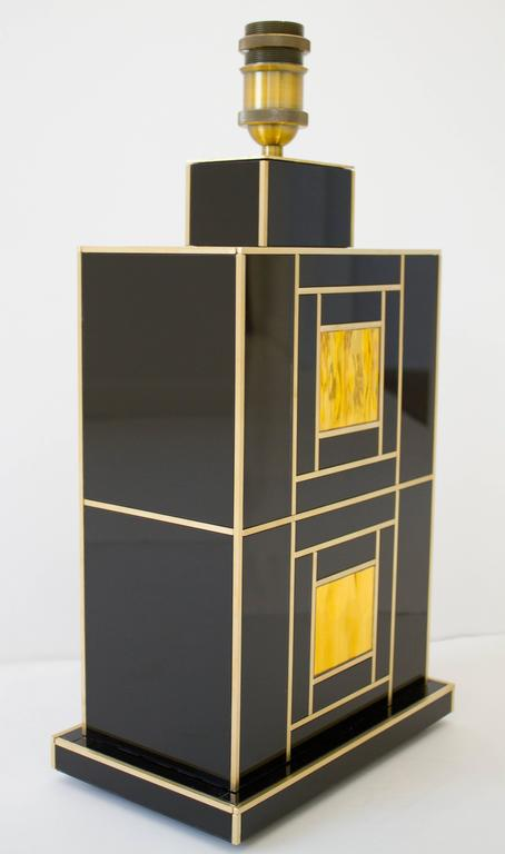 Spanish One of a Kind Signed Pair of Black and Gold Glass with Brass Inlays Lamps For Sale