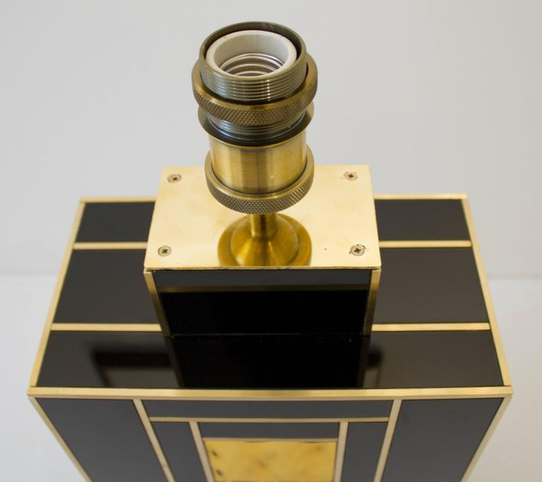 Hand-Crafted One of a Kind Signed Pair of Black and Gold Glass with Brass Inlays Lamps For Sale