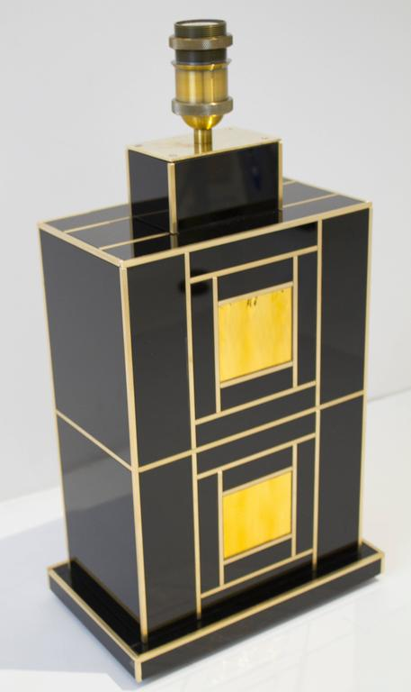 Contemporary One of a Kind Signed Pair of Black and Gold Glass with Brass Inlays Lamps For Sale