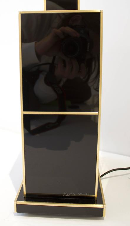 One of a Kind Signed Pair of Black and Gold Glass with Brass Inlays Lamps For Sale 1