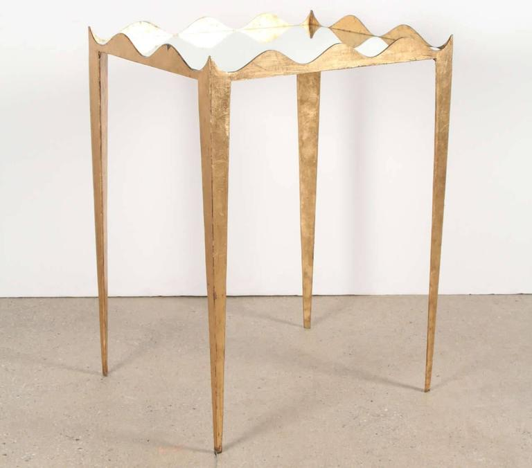 Elegant Pair of Gilded Scalloped Metal Side Tables with Mirrored Tops 2