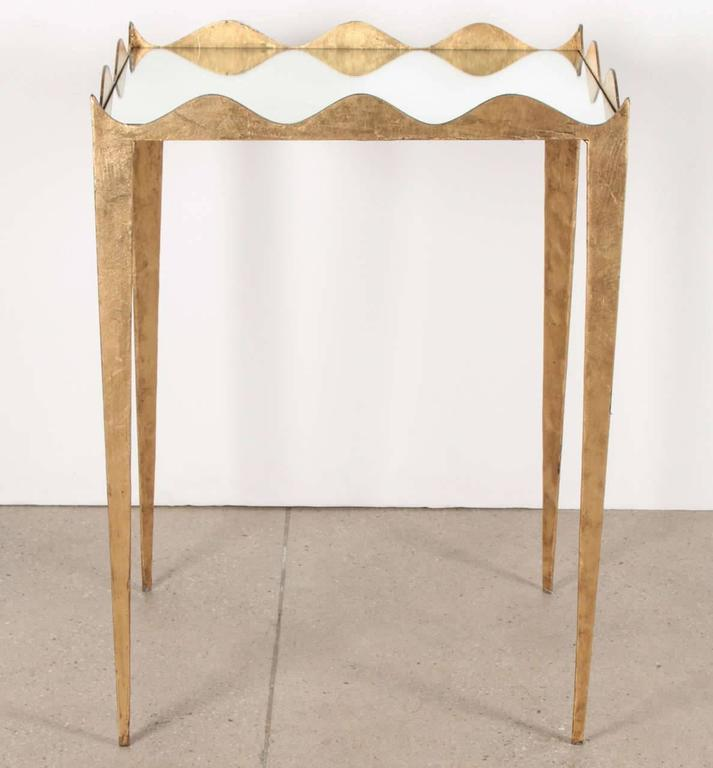 Elegant Pair of Gilded Scalloped Metal Side Tables with Mirrored Tops 3