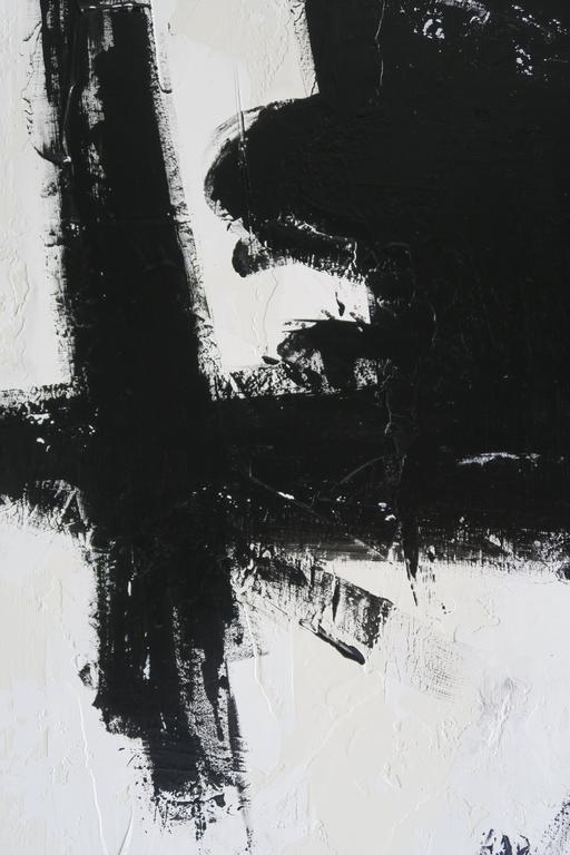 """""""True Grit"""" Original Black and White Abstract by Karina Gentinetta 36x48 5"""