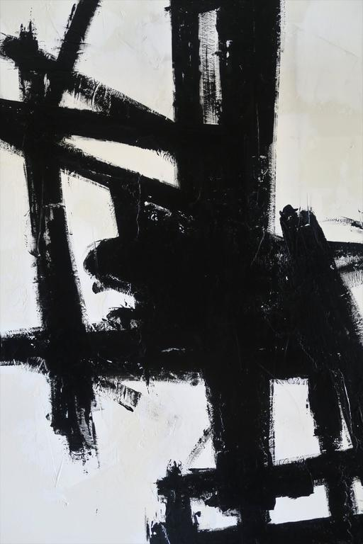 """""""True Grit"""" Original Black and White Abstract by Karina Gentinetta 36x48 2"""