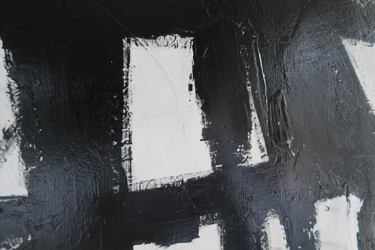 """""""True Grit"""" Original Black and White Abstract by Karina Gentinetta 36x48 6"""