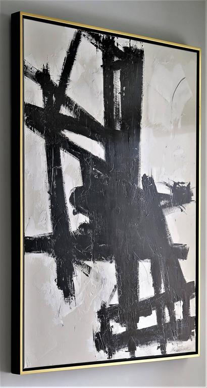 """""""True Grit"""" Original Black and White Abstract by Karina Gentinetta 36x48 8"""