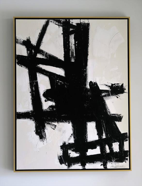 """""""True Grit"""" Original Black and White Abstract by Karina Gentinetta 36x48 10"""