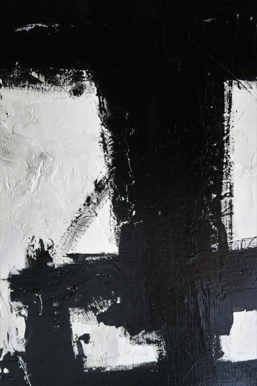 """""""True Grit"""" Original Black and White Abstract by Karina Gentinetta 36x48 7"""