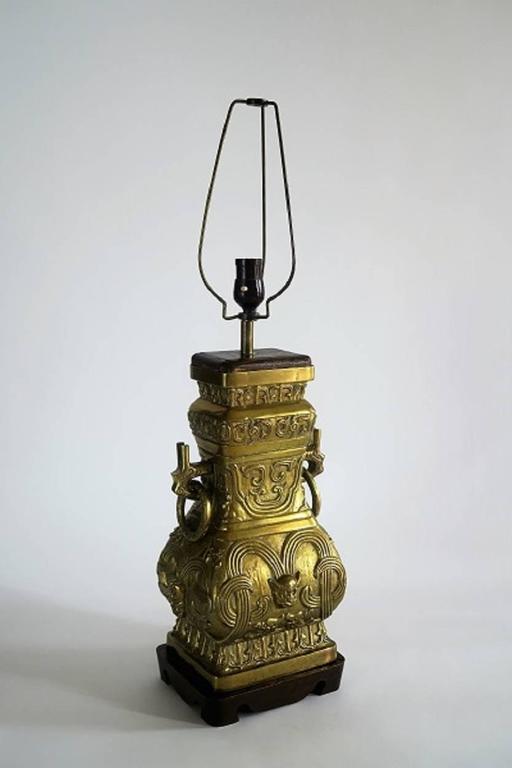 Pair Of Impressive Bronze Brass Chinese Chinoiserie Urn