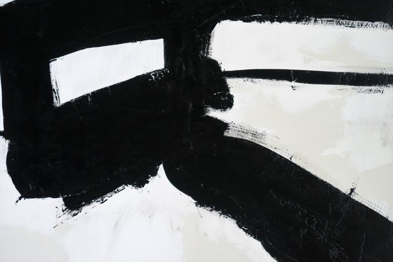 """Entitled """"Stay the Course"""", original acrylic on stretched canvas abstract black and white painting by Argentine born artist Karina Gentinetta (featured in the April 2015 issue of Elle Decor, the New York Times and the April and June issues of Luxe"""
