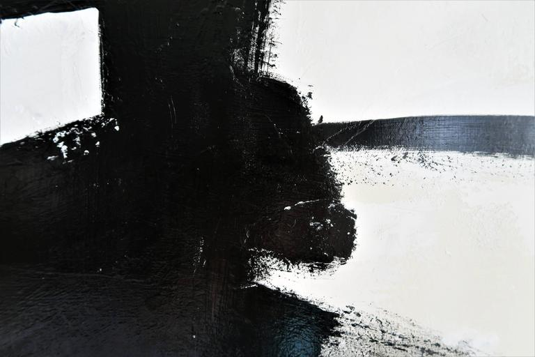 """Mid-Century Modern """"Stay the Course"""" Original Black and White Abstract by Karina Gentinetta For Sale"""