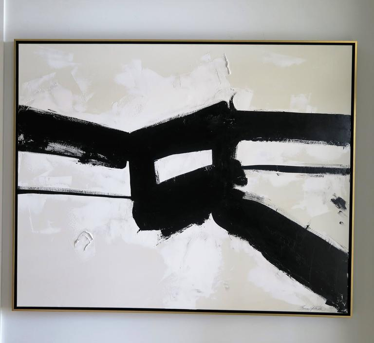 """""""Stay the Course"""" Original Black and White Abstract by Karina Gentinetta For Sale 3"""