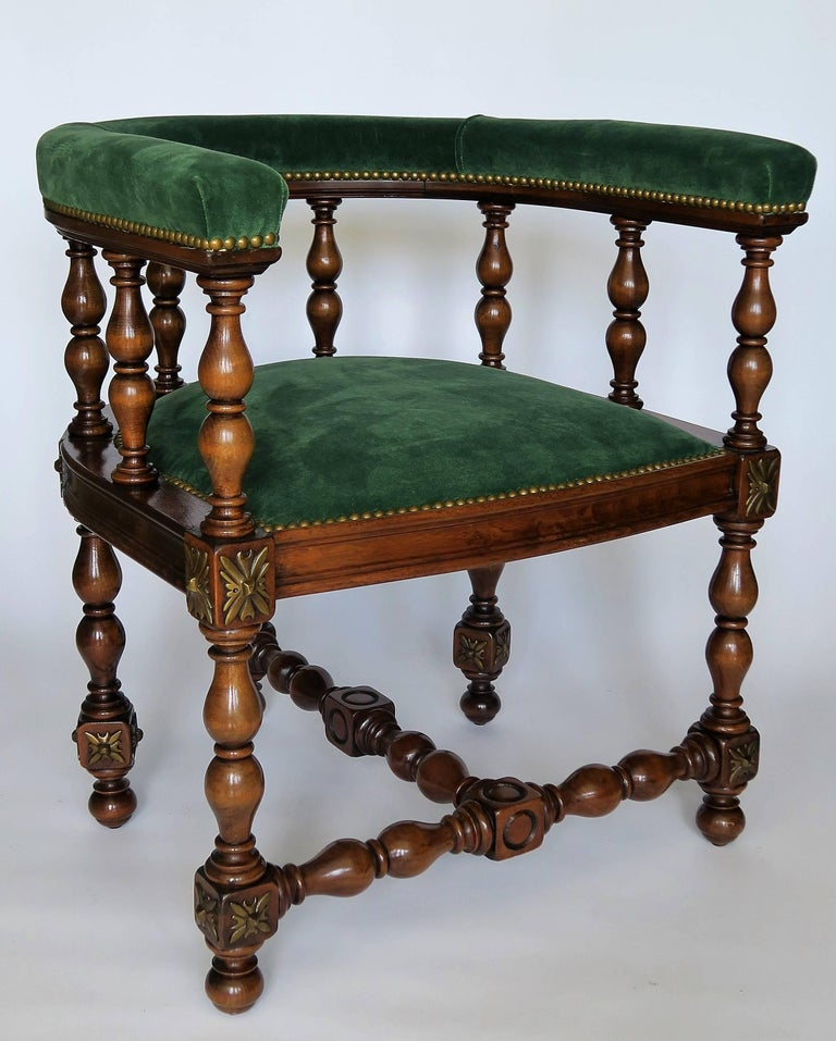 English Pair of Barrel Back Jacobean Style Library Chairs with Emerald Green Velvet For Sale