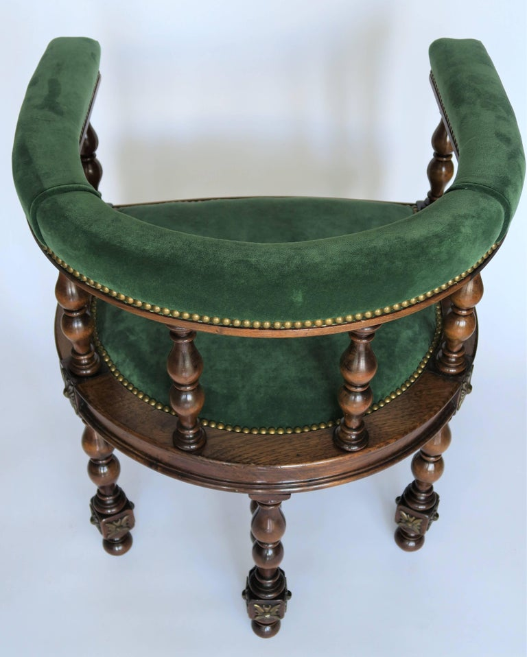 Pair of Barrel Back Jacobean Style Library Chairs with Emerald Green Velvet For Sale 3