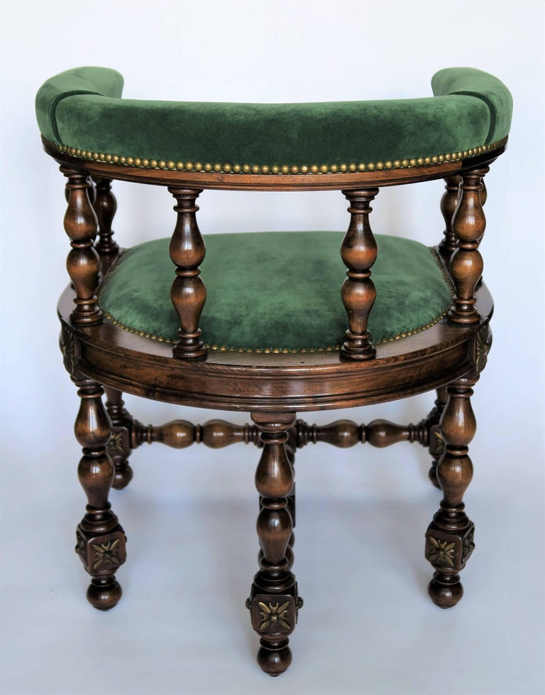 Pair of Barrel Back Jacobean Style Library Chairs with Emerald Green Velvet For Sale 4