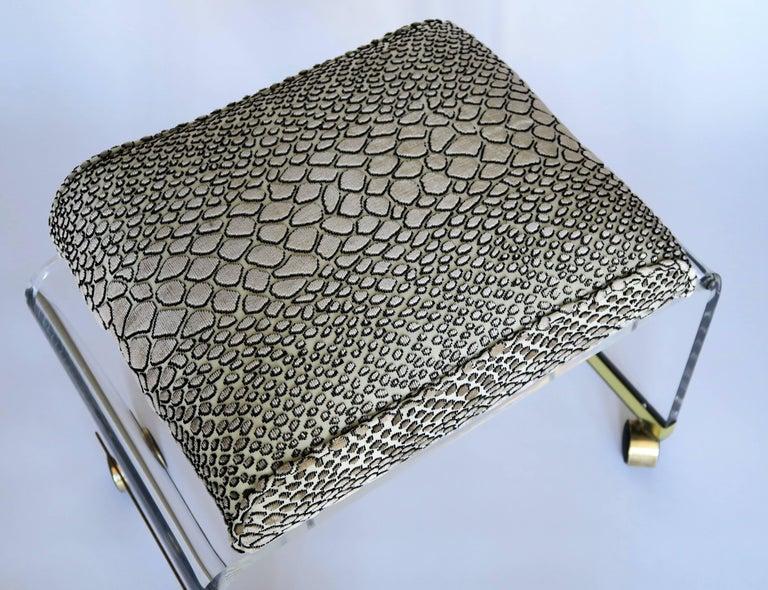 Mid-Century Modern Lucite Stool with Snake Skin Velvet and Brass Casters 3