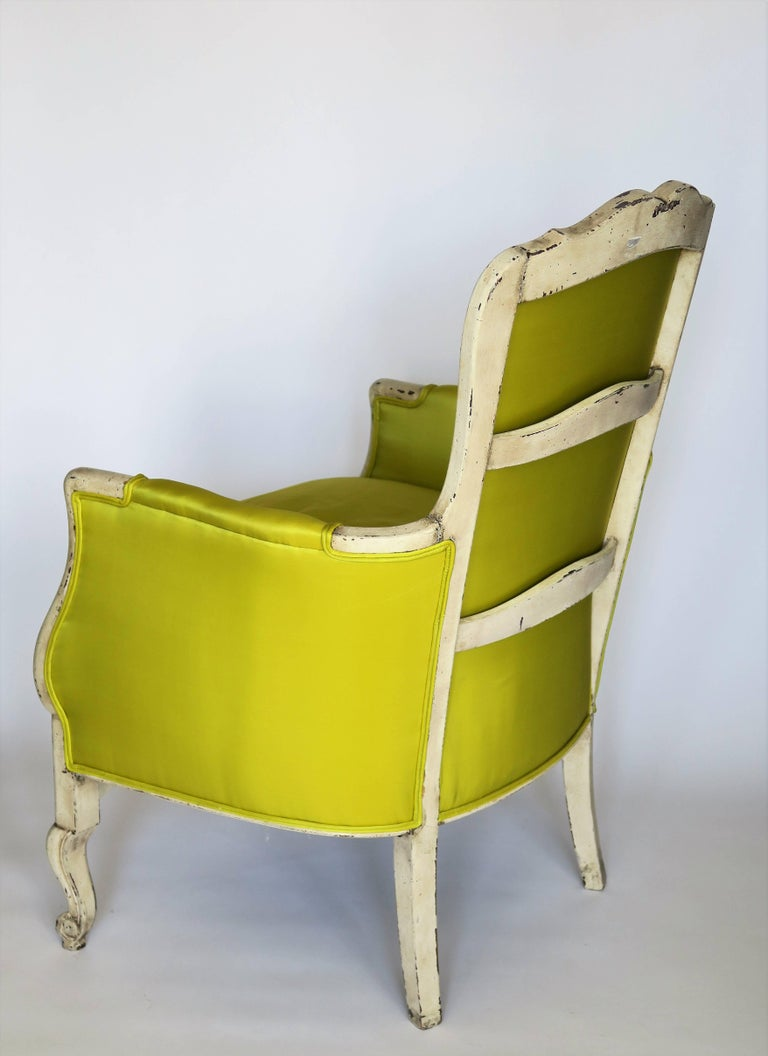 Pair of 19th Century Louis XV French Bergeres Chairs in Chartreuse Silk Fabric For Sale 6