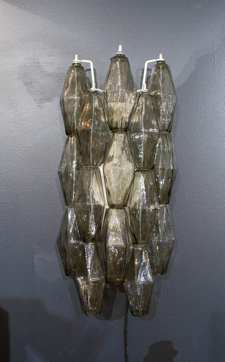 Mid-Century Modern Venini Style Pair of Italian Smoked Taupe Polyhedral Murano Glass Sconces For Sale