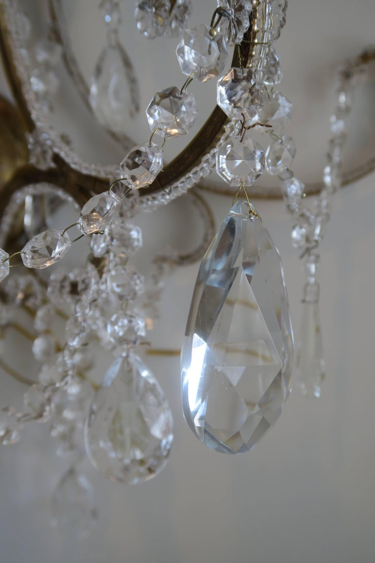 Pair of Monumental Italian Beaded Crystal Sconces in Antique Gold Frame 3
