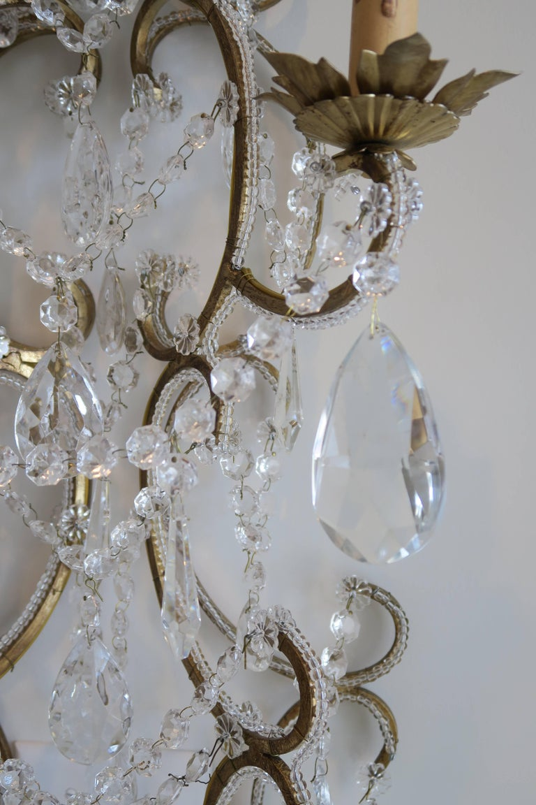 Pair of Monumental Italian Beaded Crystal Sconces in Antique Gold Frame 4