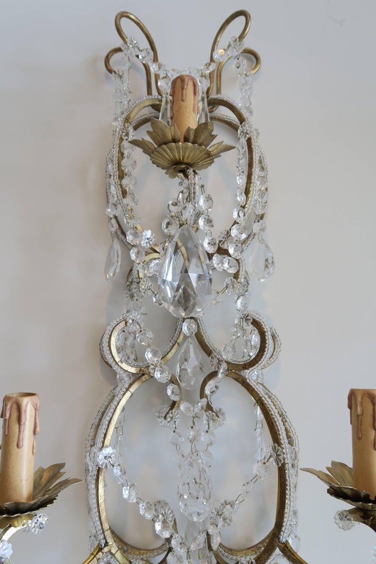 Pair of Monumental Italian Beaded Crystal Sconces in Antique Gold Frame In Excellent Condition For Sale In New York, NY