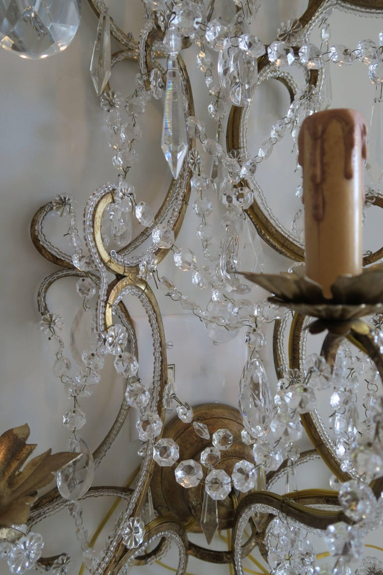 Contemporary Pair of Monumental Italian Beaded Crystal Sconces in Antique Gold Frame For Sale