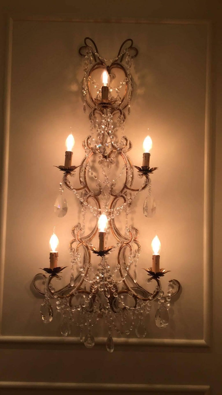 Pair of Monumental Italian Beaded Crystal Sconces in Antique Gold Frame For Sale 1