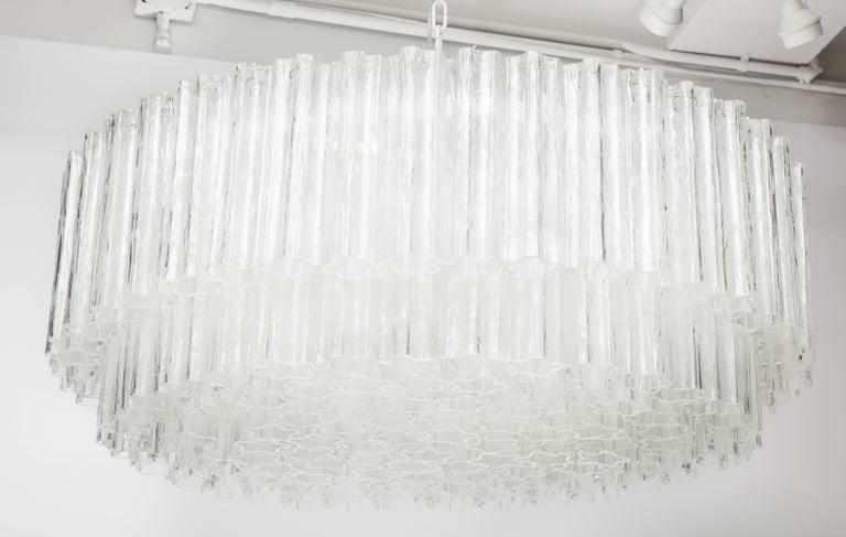 "Large Italian Venini Mid-Century Modern Clear Murano Glass ""Tronchi"" Chandelier 7"