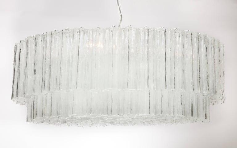 "Large Italian Venini Mid-Century Modern Clear Murano Glass ""Tronchi"" Chandelier 8"