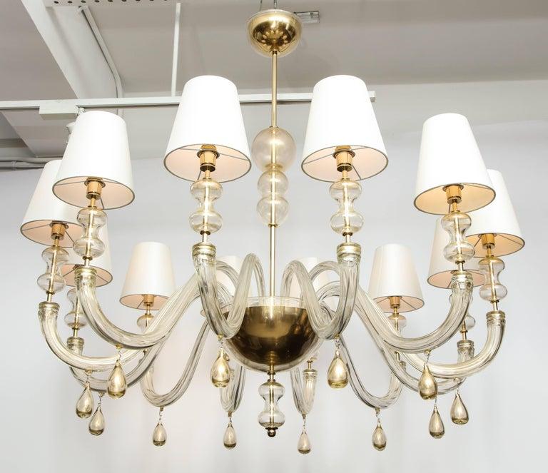 Modernist Italian Murano Gold Glass Chandelier in the Manner of Seguso 2