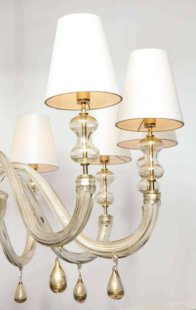 Modernist Italian Murano Gold Glass Chandelier in the Manner of Seguso 3